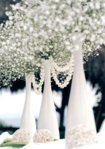 wedding reception center pieces white winter flowers